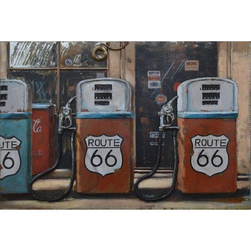 Route 66 Gas Pump Metal Wall Decor