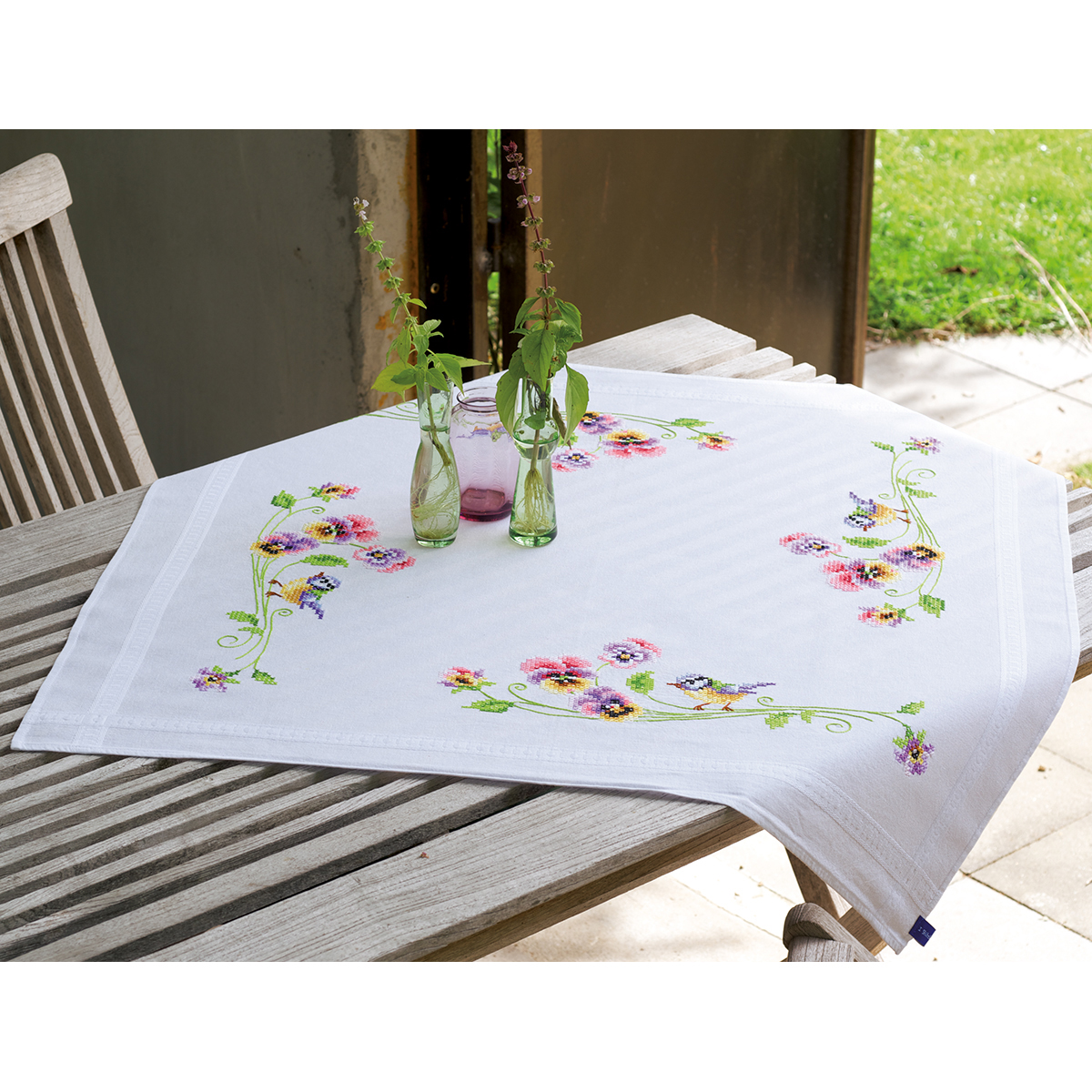 "Little Birds And Pansies Tablecloth Stamped Embroidery Kit-32""X32"""