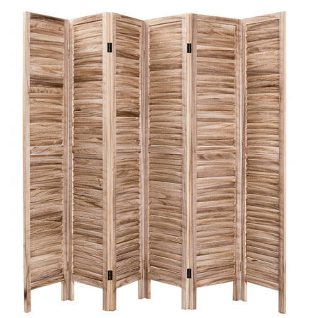 Costway 67'' High 6 Panel Room Divider Furniture Classic Venetian Wooden Slat Home ()