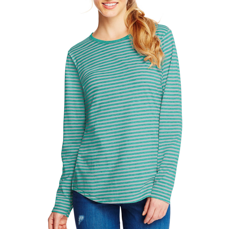 Hanes Women's Striped Shirttail Long-Sleeve Crewneck T-Shirt