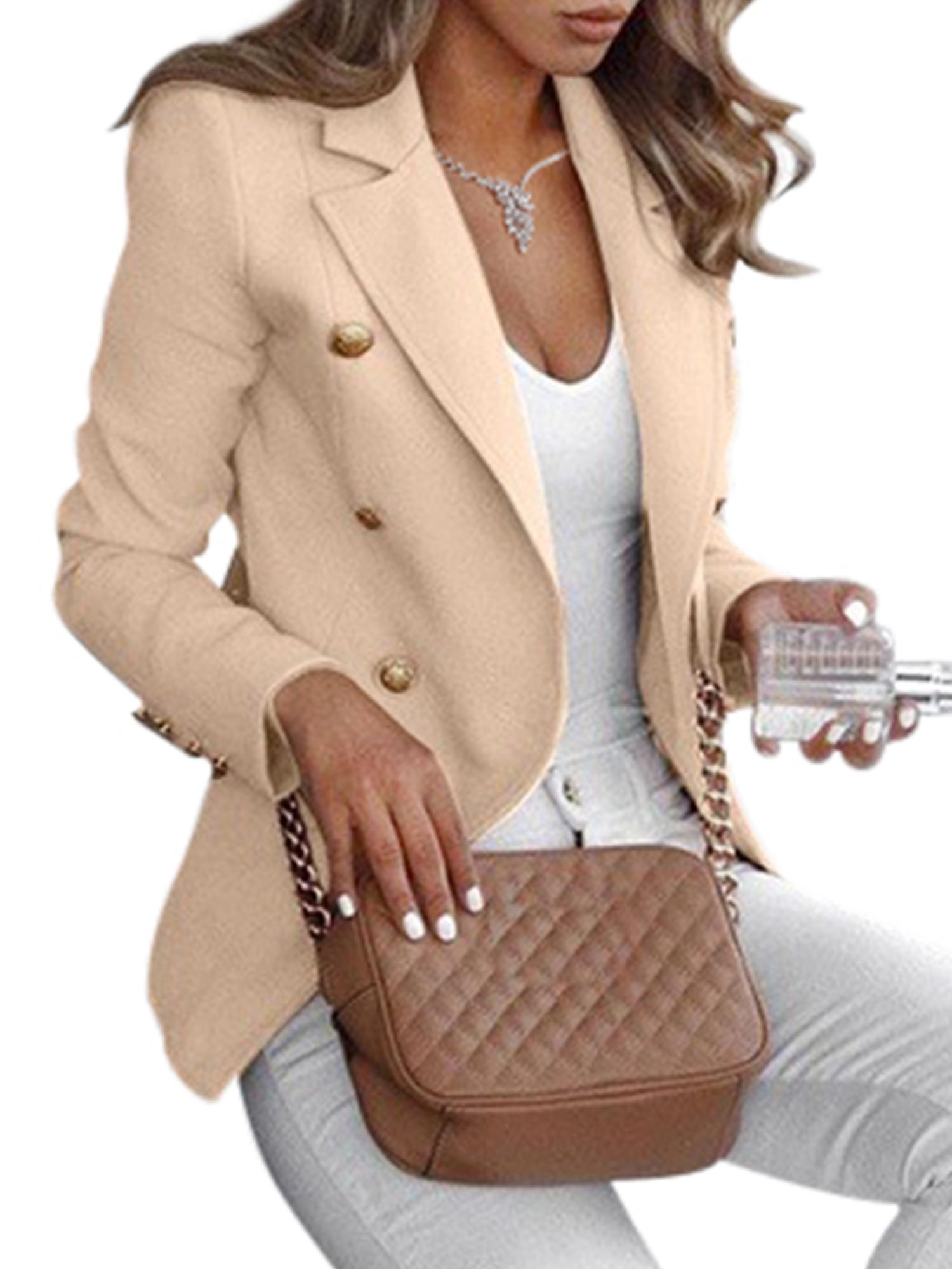 Womens Crop Short OL Jacket Tops Coat Slim Fit Casual Long Sleeve Blazer Outwear