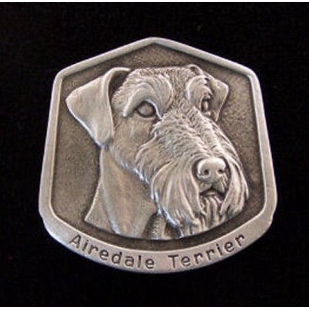 Airedale Terrier Fine Pewter Dog Breed Ornament The sculpted image of your pet is surrounded with a wreath of holly and ivy. You will treasure this ornament for years to come. hey are made of Fine Pewter and come in a Christmas gift box for storing. Lindsay Claire is a Canadian manufacturer of Fine Pewter Gifts and Collectibles.  Each pewter item is cast in our shop from fine pewter and meticulously hand polished to a satin finish.Ornament is approximately 3  and has a satin cord attached for hanging.