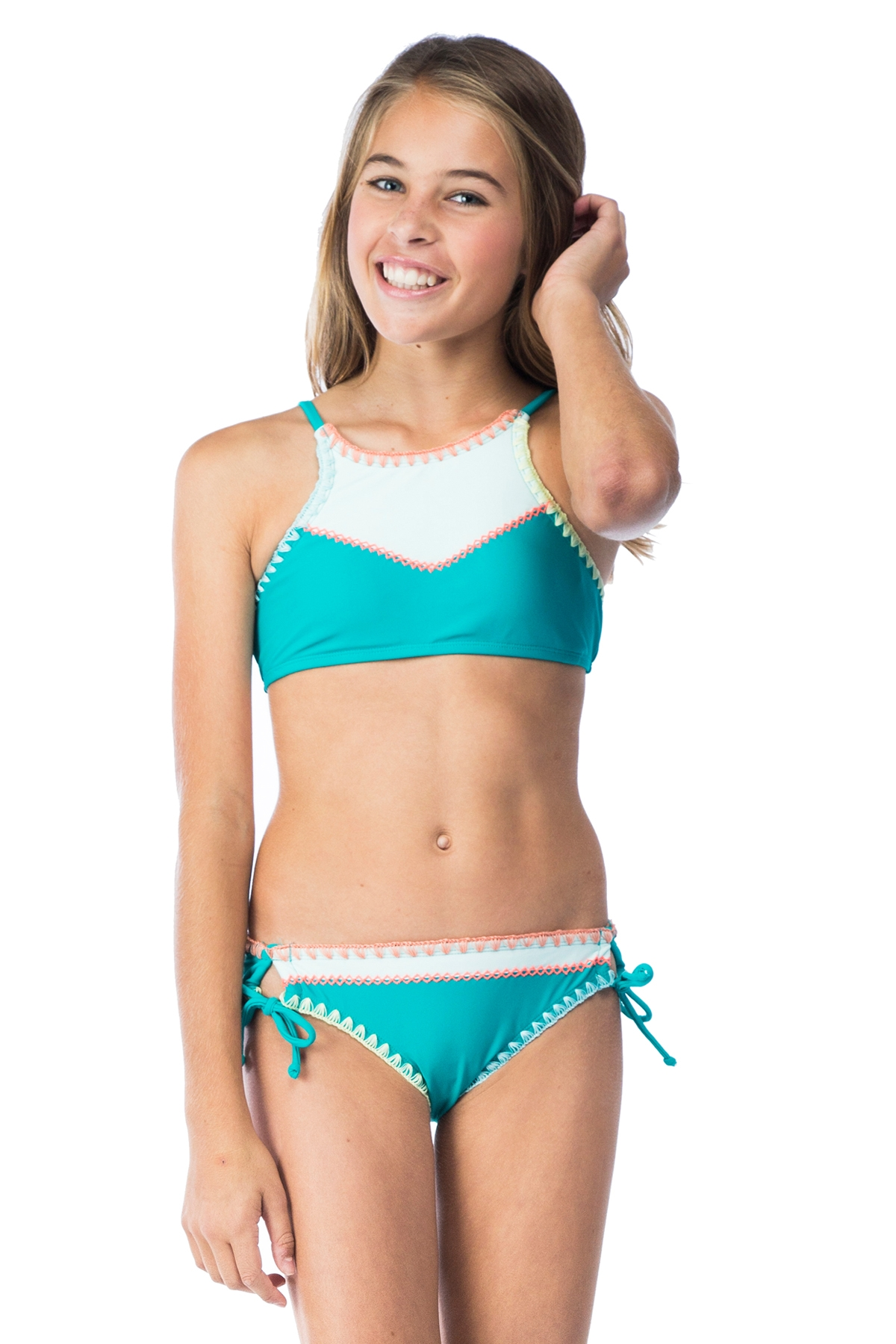 Hobie Girls Keep The Piece High Neck Top with Tie Side Hipster Swim Set 7