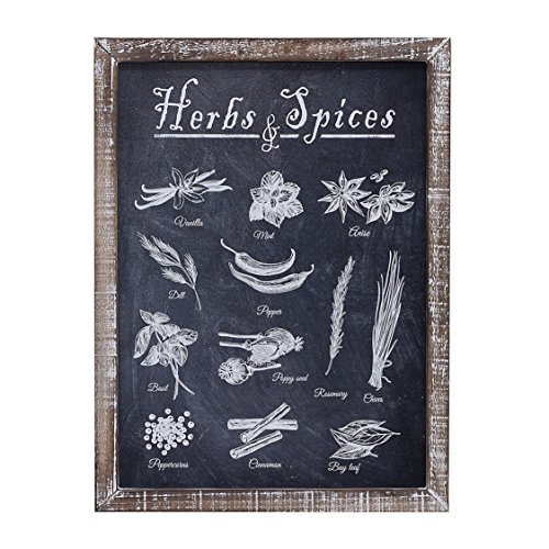 "Vintage Herb and Spices Chalkboard Art Wood Framed Plaques, Primitive Country Farmhouse Home Decor Sign 16"" x 12"" By Barnyard Designs"