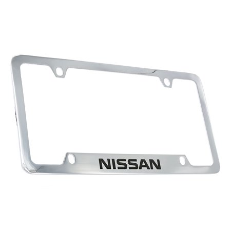Nissan wordmark chrome plated metal license plate frame holder 4 hole ()