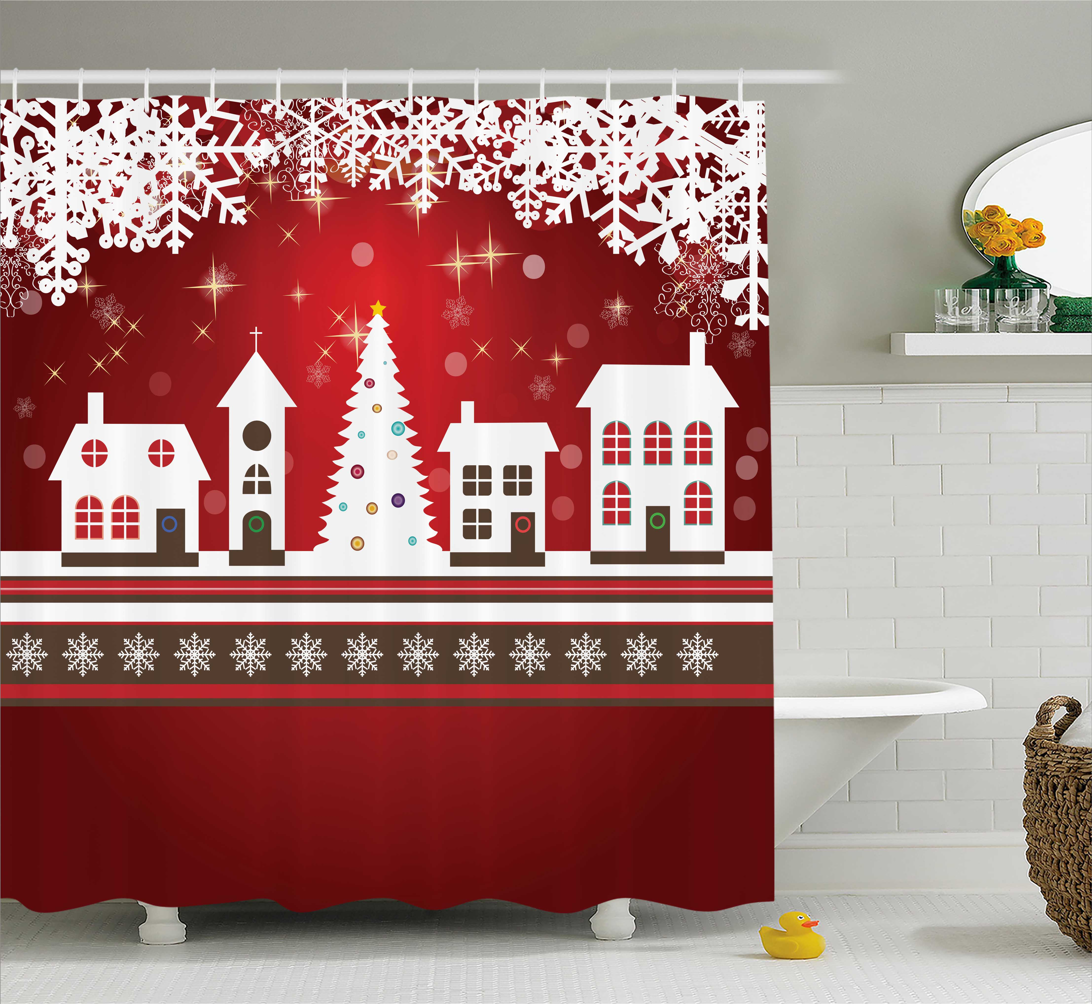 Christmas Decorations Shower Curtain Set, Winter Holidays Themed Gingerbread Houses Xmas Tree Lights and Snowflakes... by Kozmos
