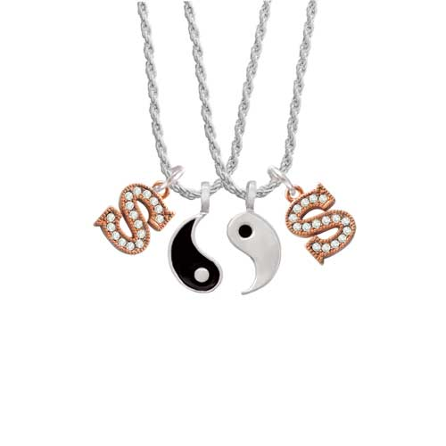 Delight Crystal Rose Gold Tone Initial - S - Yin Yang Nec...