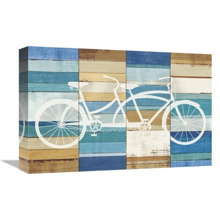Global Gallery's 'Beachscape Tandem Cruiser' By Michael Mullan Stretched Canvas Wall Art