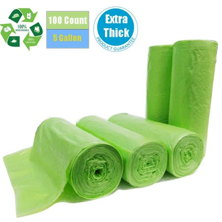 Biodegradable Trash Bags 5 gallon, 100 count, Extra Thick 1.5 MIL Small Kitchen Trash Bag Compostable Bags Recycling Garbage Bags For Kitchen Bathroom Yard Office