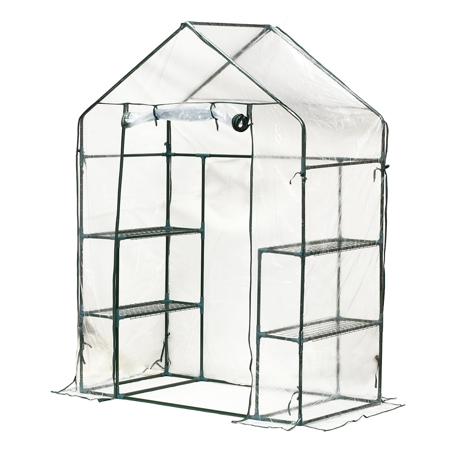 Outsunny 4.5W x 2.5D ft. Portable Outdoor Walk-In Greenhouse with 3 Tier Storage Shelves