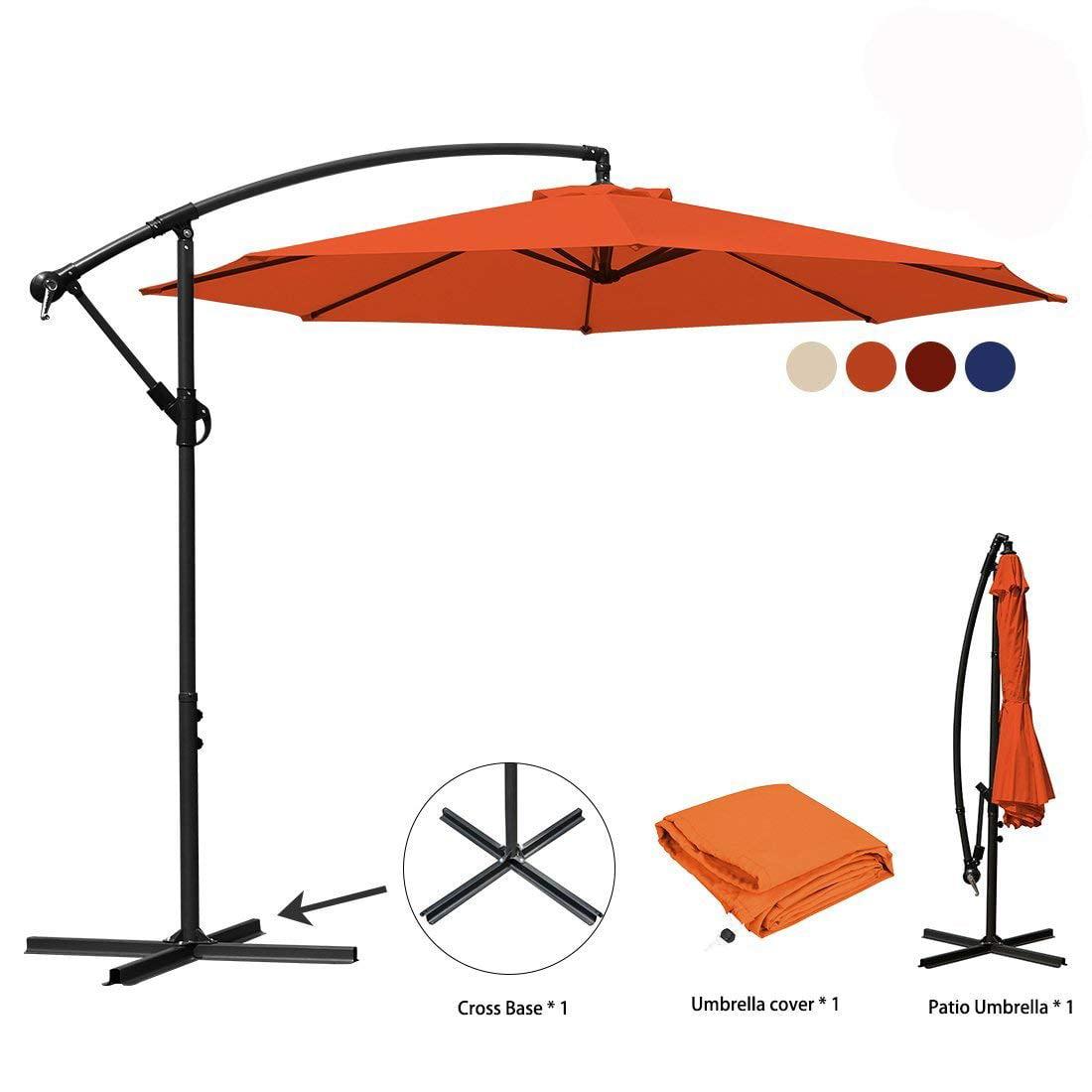 10 ft Offset Cantilever Patio Umbrella Outdoor Market Hanging Umbrellas & Crank with Cross Base, 8 Ribs (10 Ft, Navy Blue)