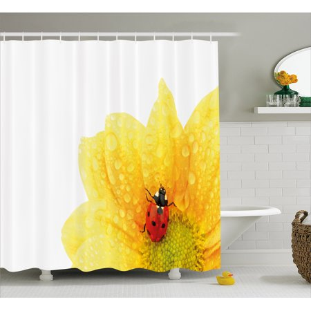 Yellow Flower Shower Curtain, Cute Little Ladybug on Gerbera Wet Petals Water Drops Fresh Garden, Fabric Bathroom Set with Hooks, 69W X 70L Inches, Yellow Vermilion, by Ambesonne](Yellow Lady Bug)