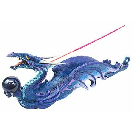 Myth & Legend Blue Leviathan Deep Sea Dragon Incense Holder & Burner Figurine Sculpture For Fantasy Lovers Magic and