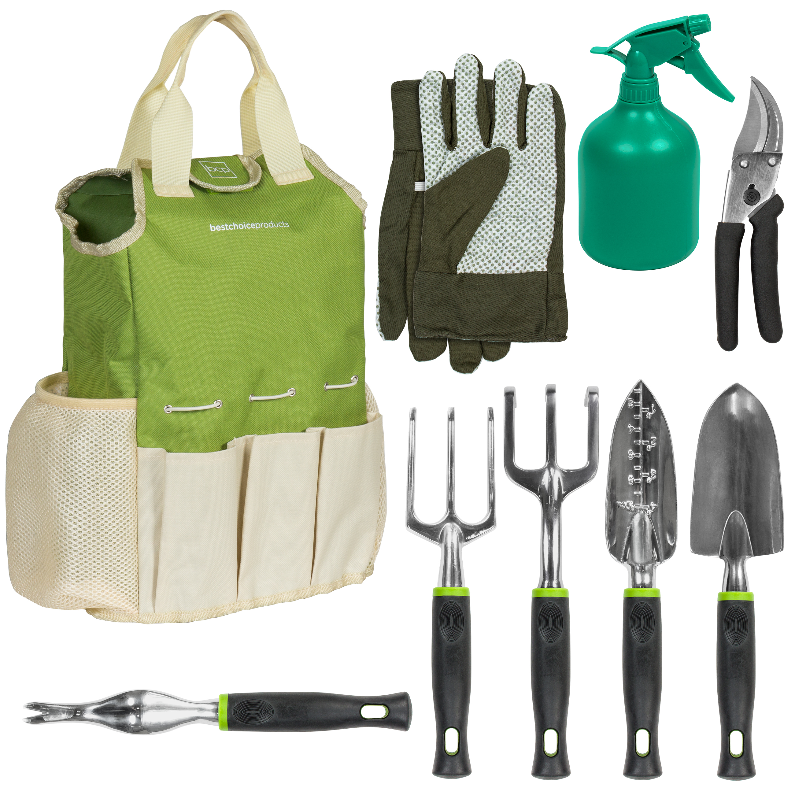 Best Choice Products 9-Piece Gardening Tool Set w  Hand Tools, Gloves, Carrying Tote Bag... by Best Choice Products