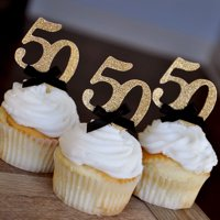 """50th Birthday Party Ideas. Ships in 1-3 Business Days. Number """"50"""" Cupcake Toppers. Set of 12."""