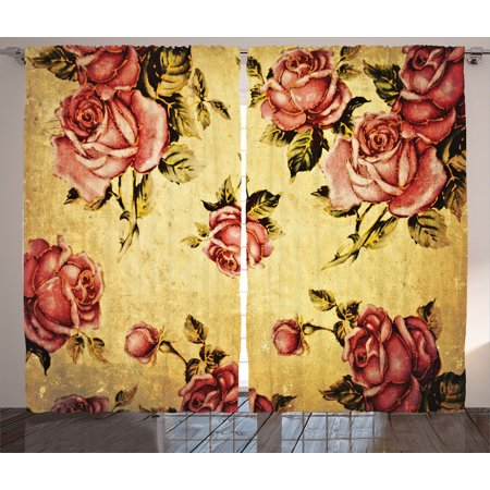Roses Decorations Curtains 2 Panels Set, Old-Fashioned Victorian Style Rose Pattern With Dramatic Color Boho Art Design, Living Room Bedroom Accessories, By Ambesonne