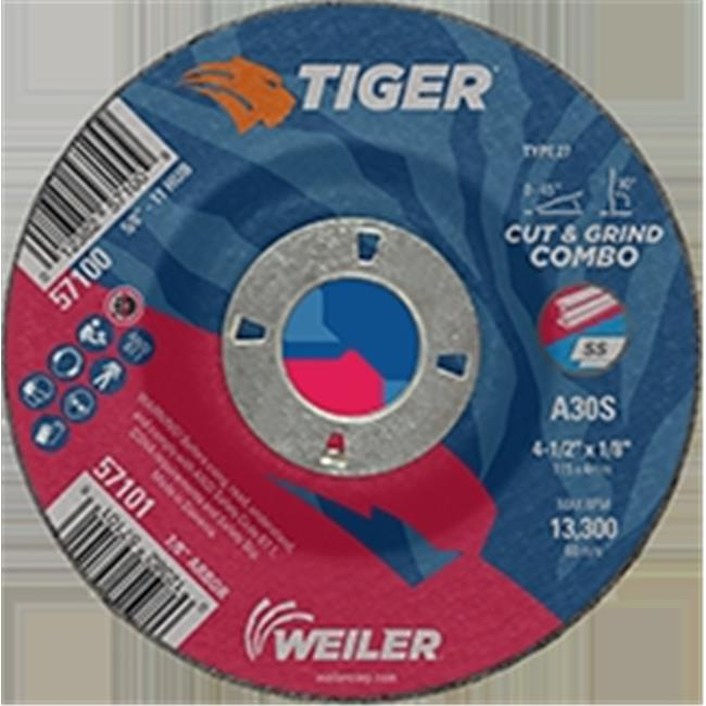 Weiler 804-57101 4.5 x 0.125 in. Tiger Type 27 Cut & Grind Combo Wheels - 0.87 in. AH, Pack of 25 - image 1 of 1