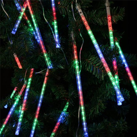 Finether 13.1 ft 8 Tube 144 LED Meteor Shower Rain Snowfall Plug-In String Lights for Holiday Christmas Halloween Party Indoor Outdoor Decoration Commercial Use, Multi-Color