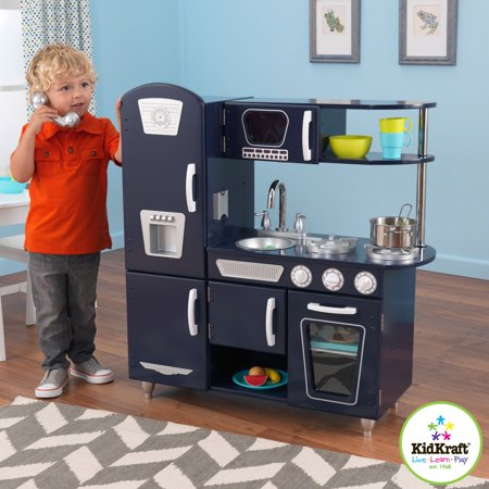 Kidkraft vintage wooden play kitchen set navy for Cuisine kidkraft retro