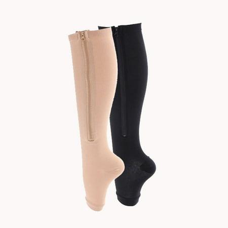 Zipper Pressure Compression Socks Support Stockings Leg - Open Toe Knee High - 20-30mmHg - Helps Circulation Varicose Veins Swollen Legs Zipper - Nude Regular