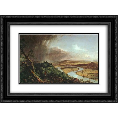Thomas Cole 2x Matted 24x20 Black Ornate Framed Art Print 'The Connecticut River Near (Black Connecticut Cigars)