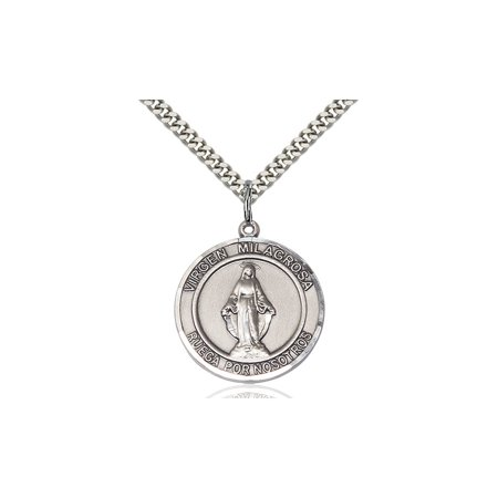Sterling Silver Virgen Milagrosa Medal Pendant 1 X 5 8 Our Lady Miraculous Immaculate Conception Virgin Mary On A 24 Inch Stainless Silver Curb Chain Necklace Gift Boxed