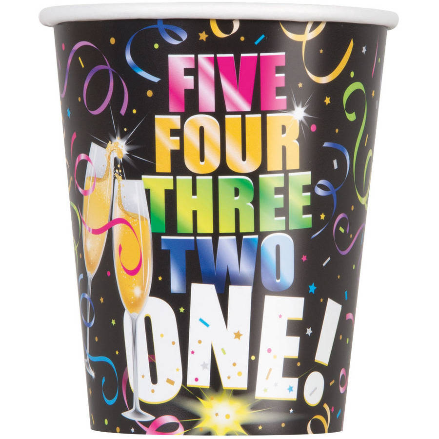 9oz Paper Glitzy New Years Eve Cups, 8ct