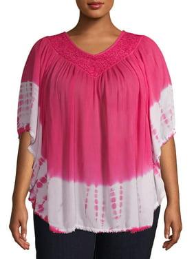 Studio West Women's Plus Size Tie Dye Poncho