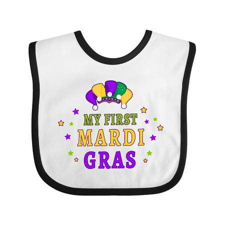 1st Birthday Hat And Bib (My First Mardi Gras with Clown Hat and Stars Baby Bib White/Black One)