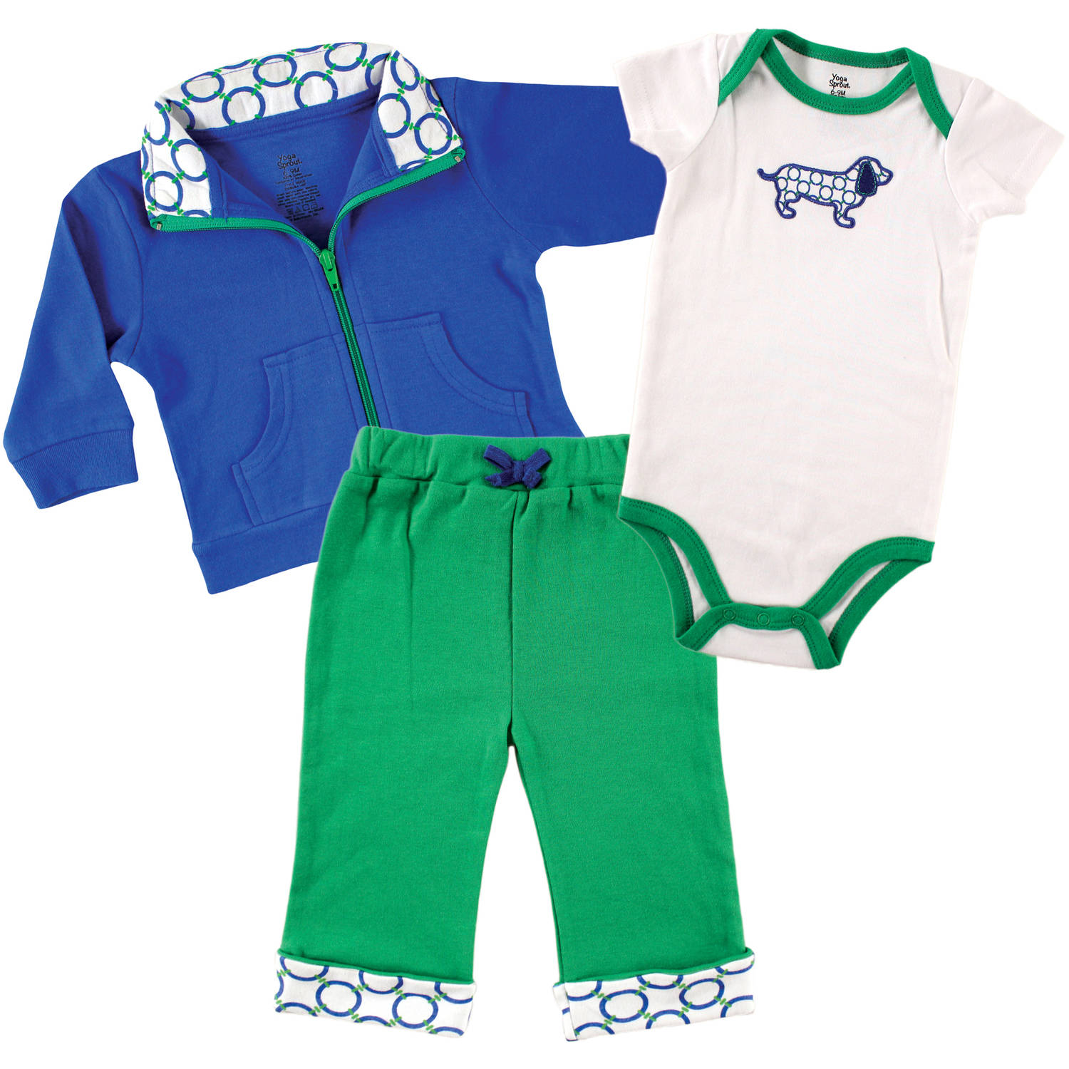 Yoga Sprout Newborn Baby Boys Jacket, Bodysuit & Pant - Dog