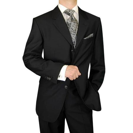 DTI GV Executive Italian Men's Wool Suit 3 Button 2 Piece Suits Jacket Trousers Black Wool 3 Button Italian