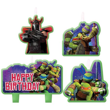 Teenage Mutant Ninja Turtles Birthday Candles - Birthday and Theme Party Supplies - 4 Per Pack By SmileMakers Inc - Ninja Turtle Themed Party