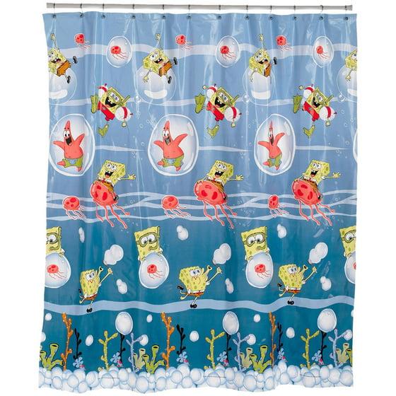 Nickelodeon Spongebob Squarepants Shower Curtain Underwater Frenzy ...