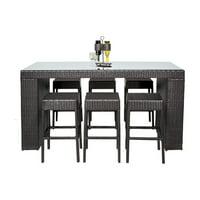 TK Classics Belle 7 Piece Wicker Bar Height Patio Dining Set