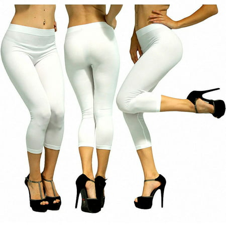 Women Capri Leggings Seamless One Size Stretch Spandex Yoga Pants Opaque Jegging