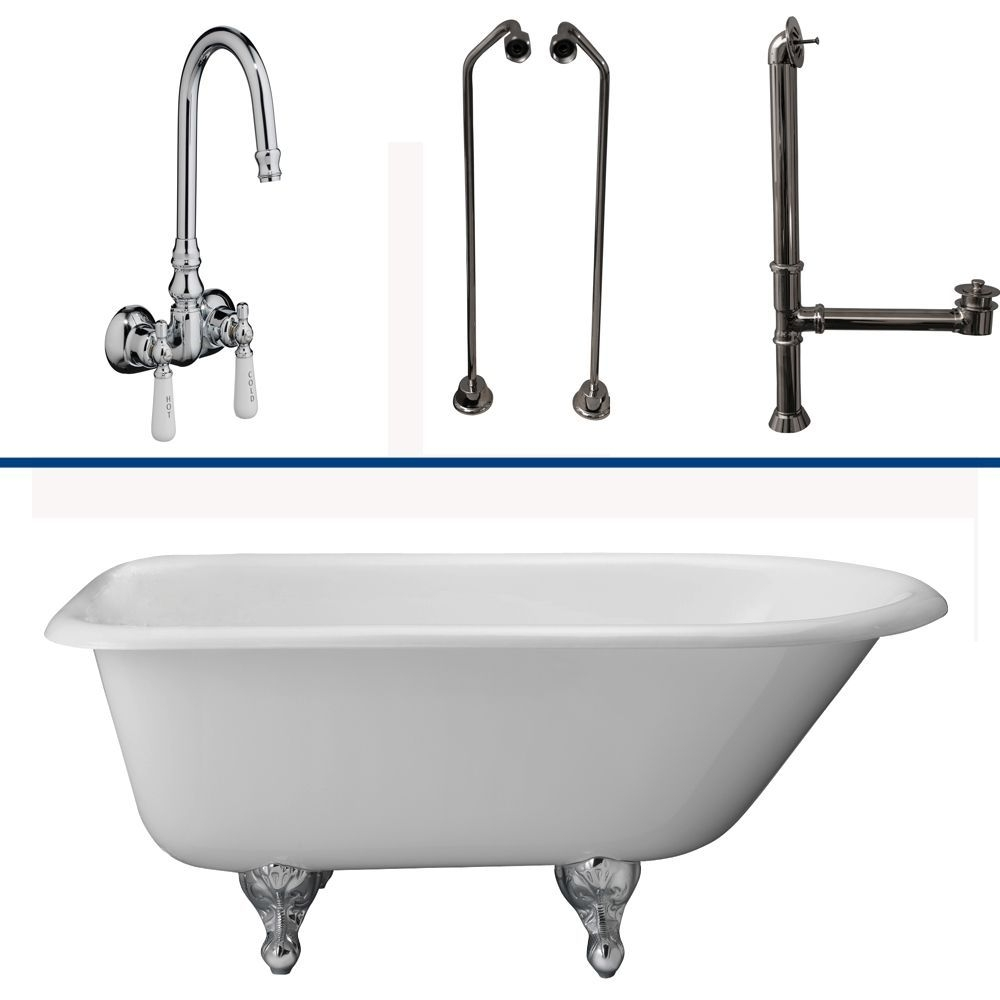 "Barclay TKCTR60-CP9 Tub Kit 60"" CI Roll Top, Tub Filler, Supplies, Drain-Chrome"
