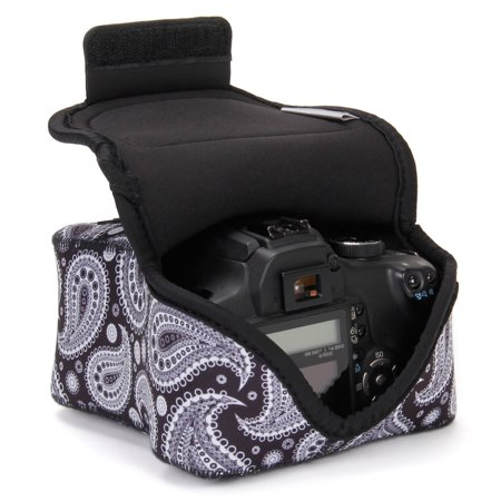 USA GEAR DSLR Camera Case / SLR Camera Sleeve (Black Paisley) w/Neoprene Protection , Holster Belt Loop and Accessory Storage - Compatible With Nikon D3400 / Canon EOS Rebel SL2 / Pentax K-70 & More