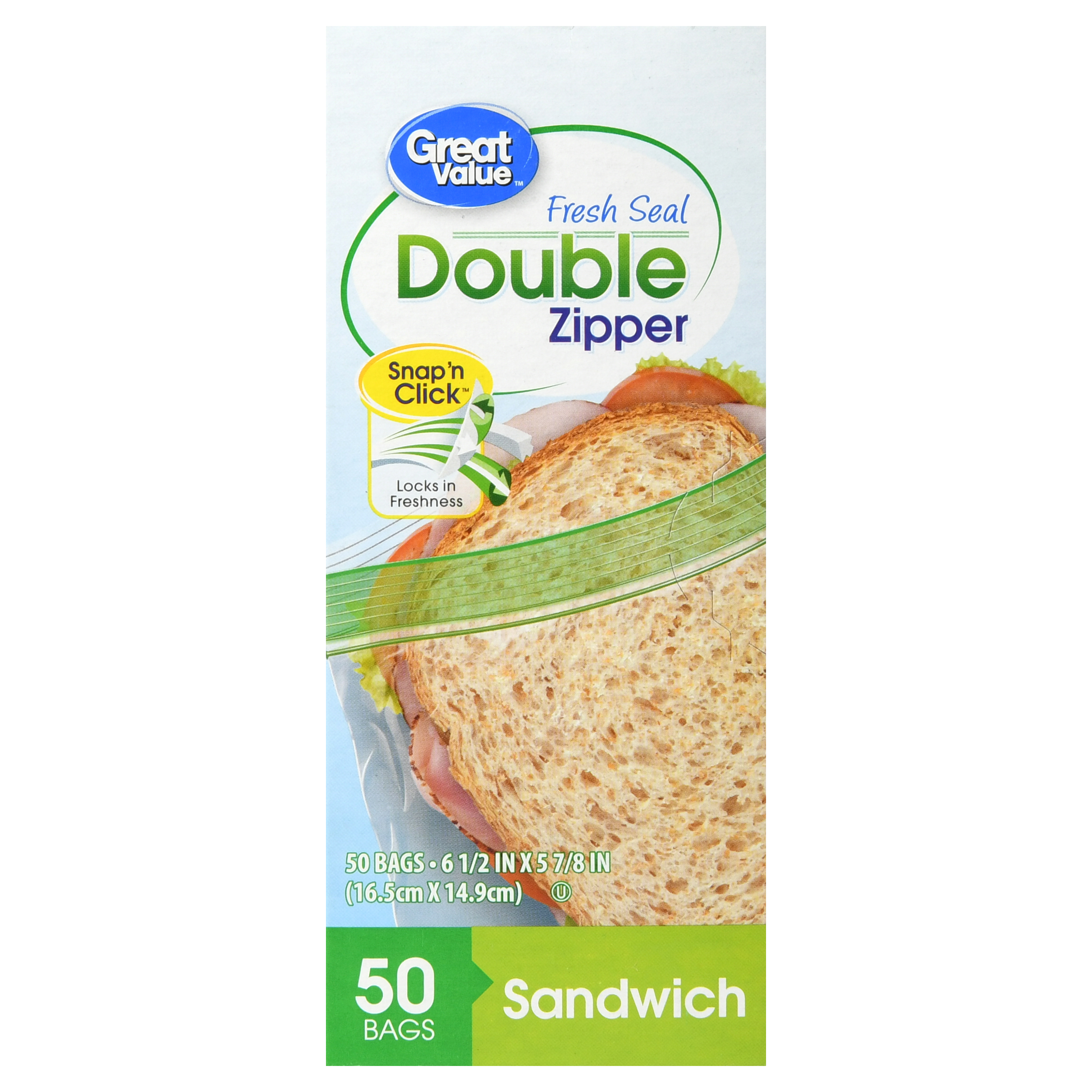 Great Value Double Zipper Food Storage Bags, Sandwich, 50 Count