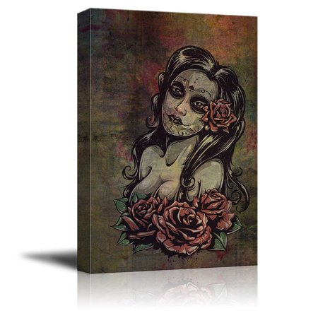 wall26 Canvas Print Wall Art - Day of the Dead (Dia De Los Muertos) Themed Art Sexy Girl with Roses - Gallery Wrap Modern Home Decor | Ready to Hang - 24x36 inches - Dia De Los Muertos Theme