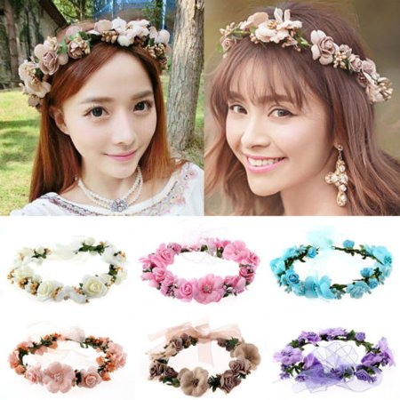 Women Girl Crown Floral Rose Flower Headband Hairband Wedding Hair Garland Headpiece - Blue Headpiece