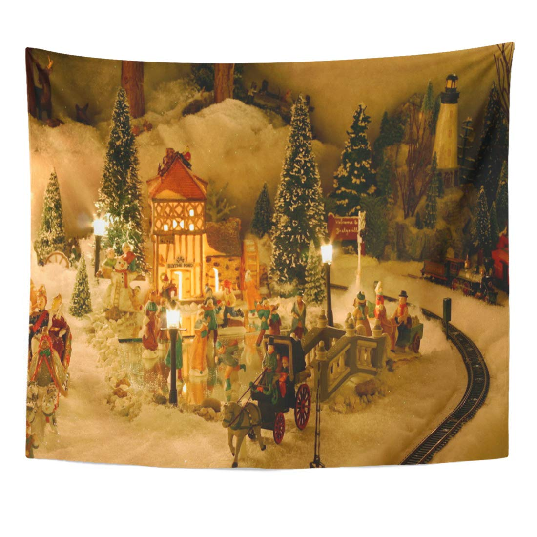 Ufaezu Tree People Christmas Village Miniature Houses Train Victorian Ceramic Wall Art Hanging Tapestry Home Decor For Living Room Bedroom Dorm 60x80 Inch Walmart Com Walmart Com