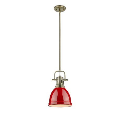 Golden Lighting Duncan Small Pendant with Rod inAged Brasswith a Red Shade