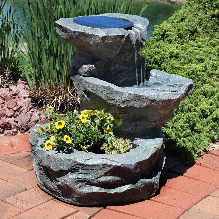 Sunnydaze Solar Garden Outdoor Water Fountain With Planter 19
