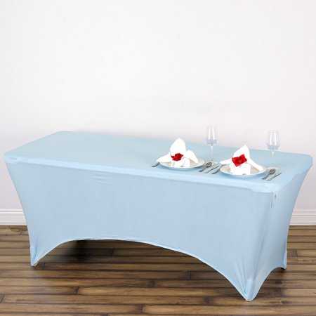 Efavormart 6 Ft Rectangular Spandex Table Cover for Kitchen Dining Catering Wedding Birthday Party Decorations Events