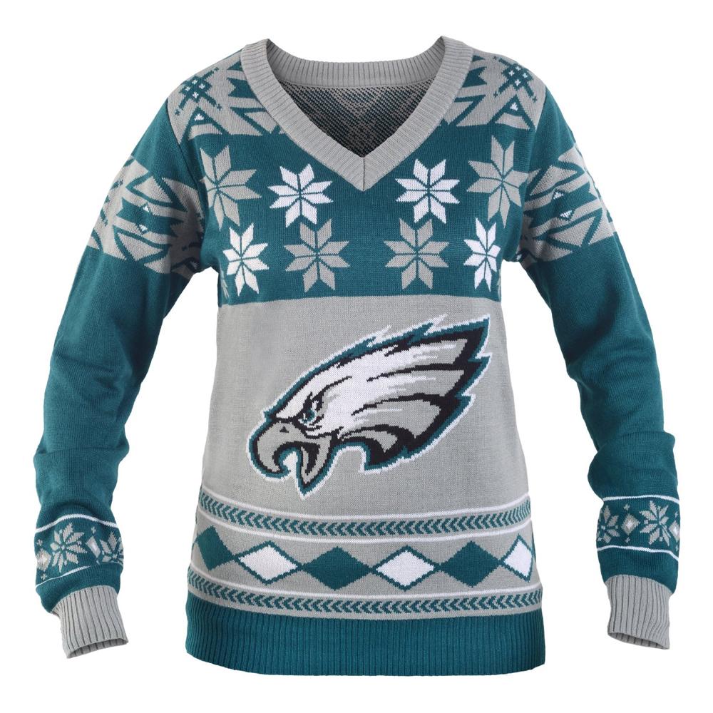 Philadelphia Eagles Nfl Womens Big Logo V Neck Ugly Christmas