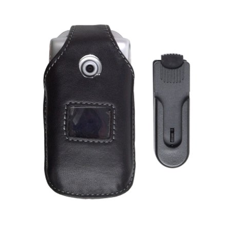 Sony Ericsson Dock - Swivel Clip Leather Case for Sony Ericsson W300 Z530 - Black