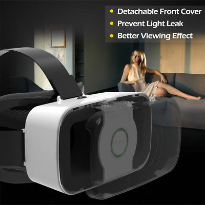 Virtual Reality VR Headset 3D Video Glasses Box for Android iPhone Samsung black