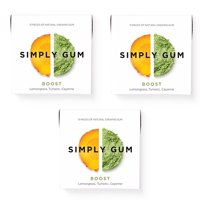 Simply Gum, Boost Chewing Gum, Non GMO, Vegan, 15 Pcs, 3 Ct