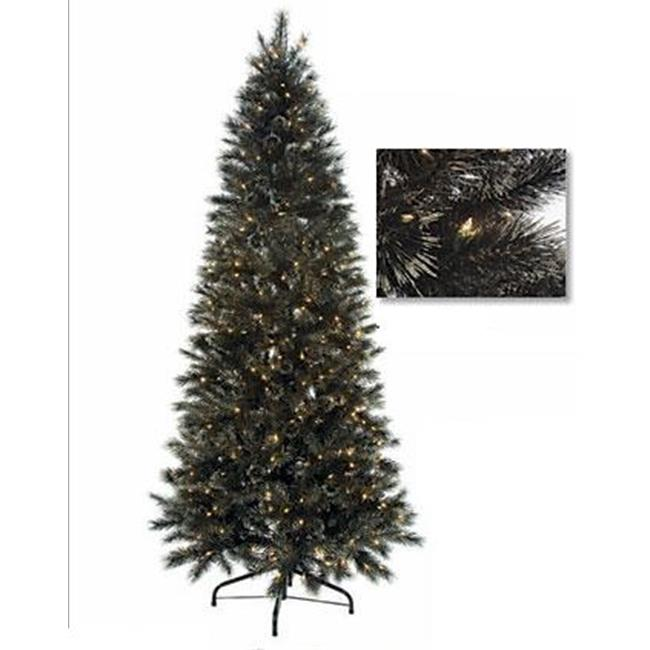 Autograph Foliages C-80451 - 7.5 Foot Black Glitter Tinsel - Black-Silver