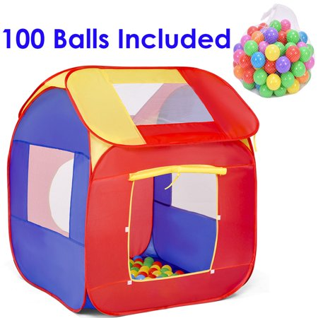 Kids Play Bells (Costway Portable Kid Baby Play House Indoor Outdoor Toy Tent Game Playhut With 100 Balls)